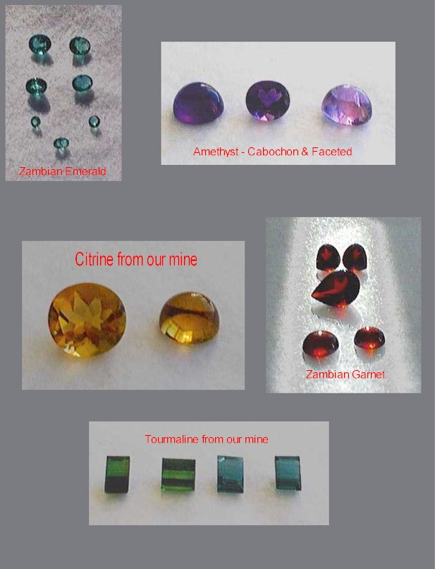 Polished Zambian gemstones. (C) Copyright Emerald Centre